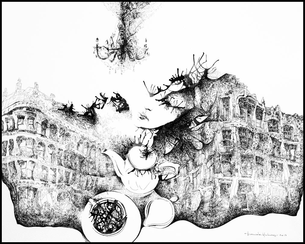 Grafică - Tea in The City, 2013, tuș pe hârtie, 39×49 cm
