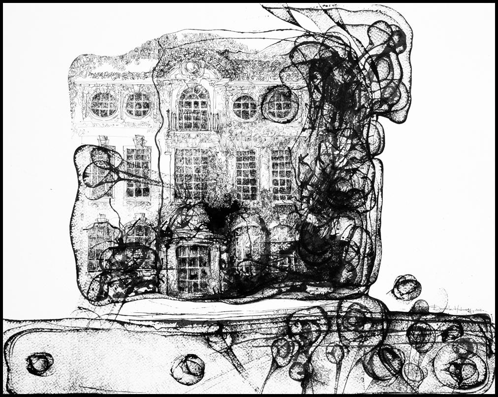 Grafică - The Meeting Place, 2013, tuș pe hârtie, 39×49 cm