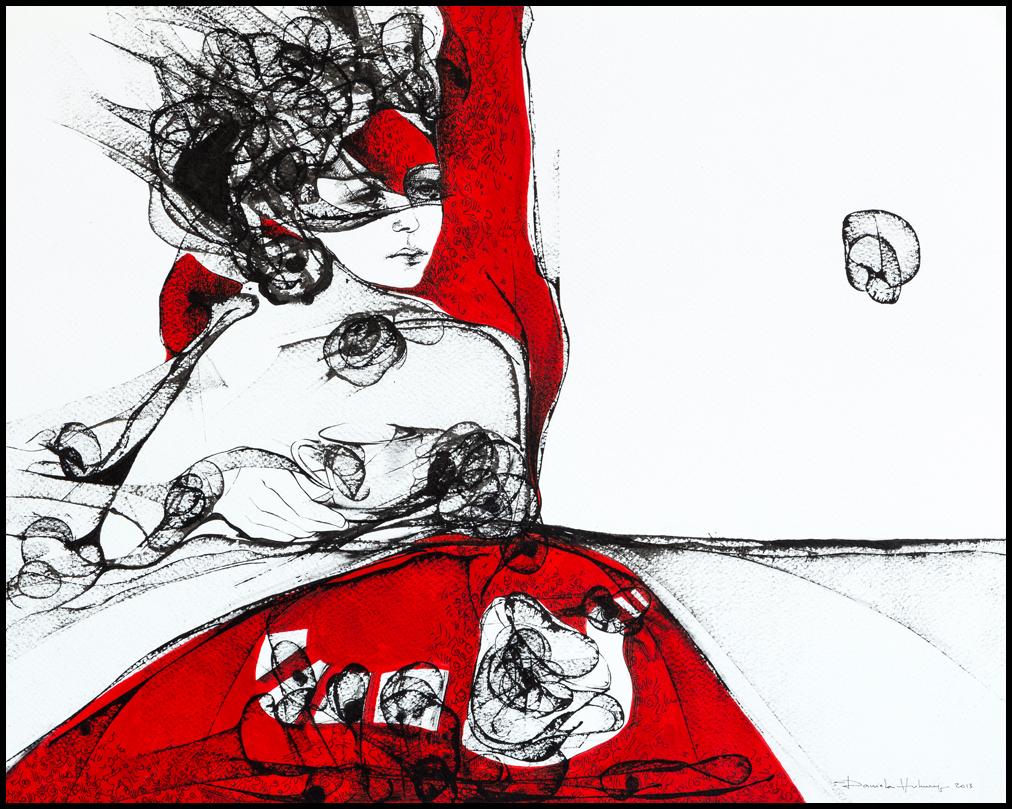 Grafică - The Coffee, 2013, tuș pe hârtie, 39×49 cm