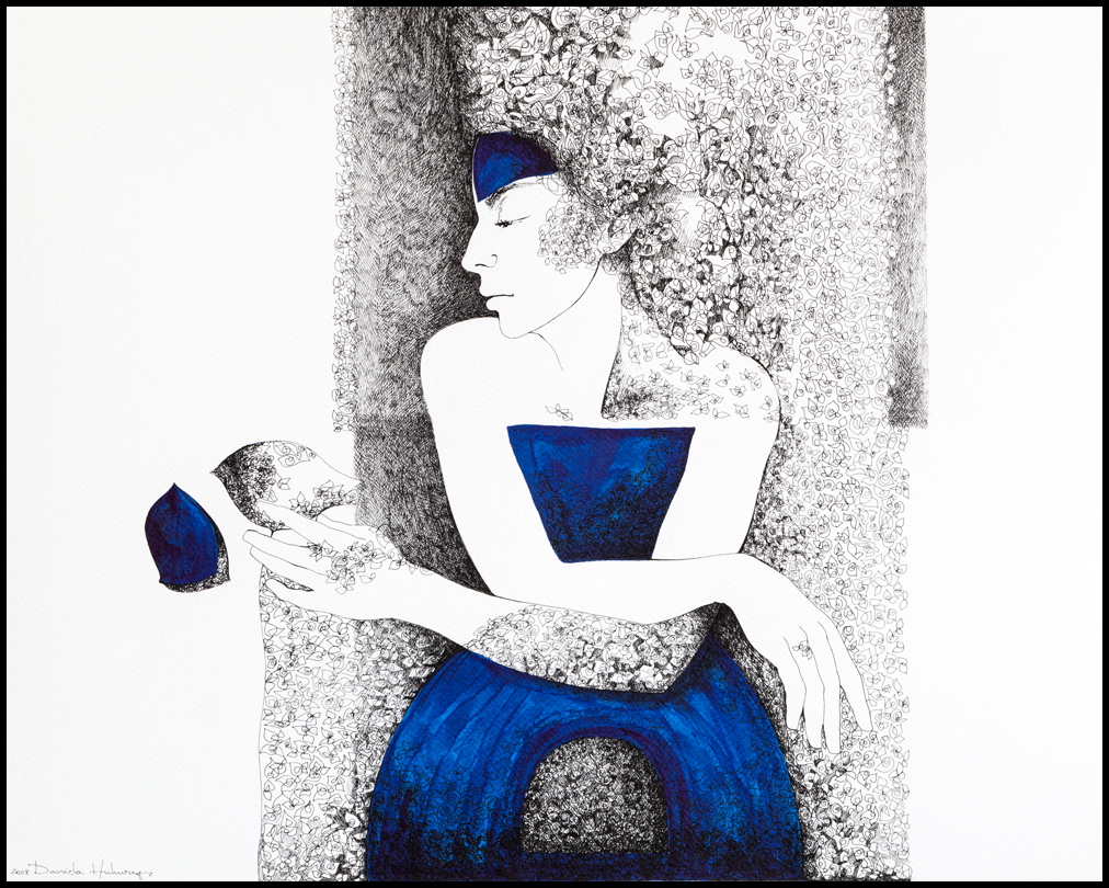 Grafică - Lady in Blue, 2008, tuș pe hârtie, 39×49 cm