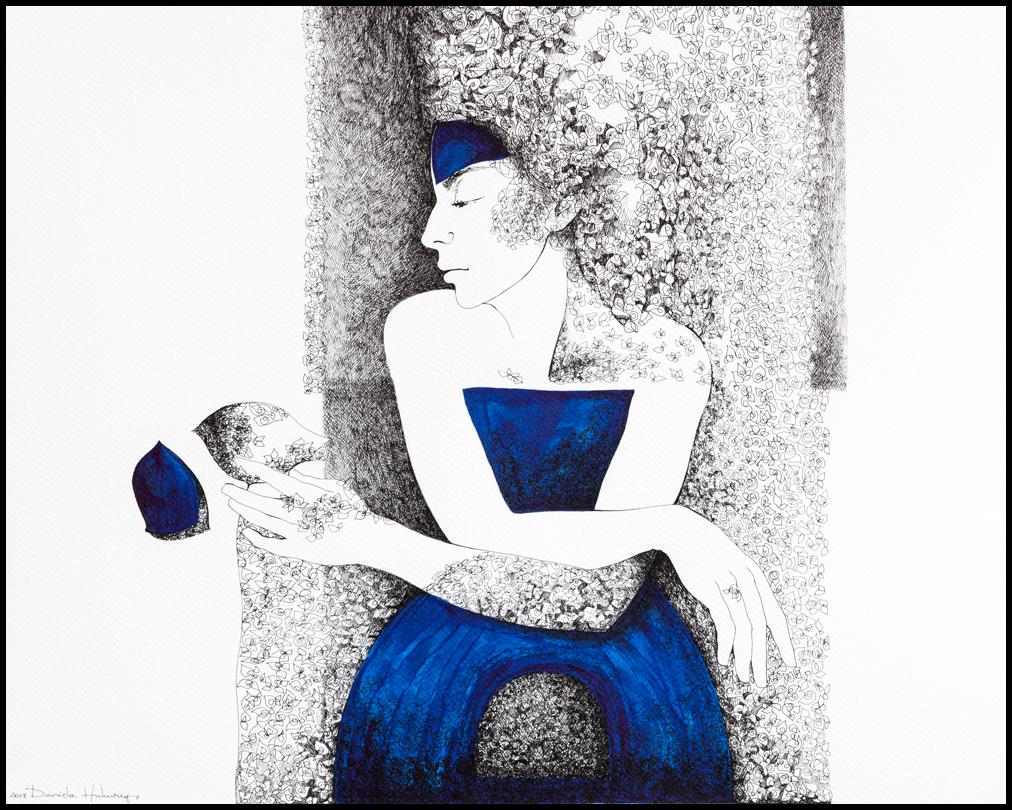 Grafică - Lady in Blue, 2008, tuș pe hârtie, 39×49 cm
