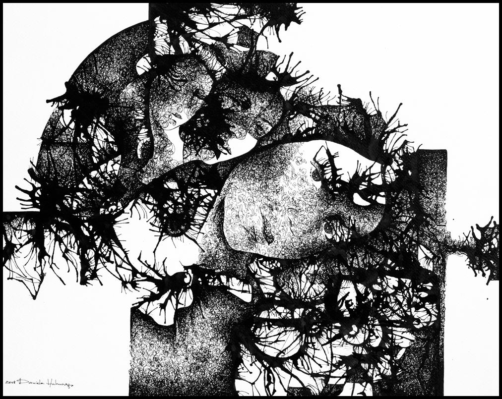 Grafică - Mysterious Girl, 2008, tuș pe hârtie, 39×49 cm