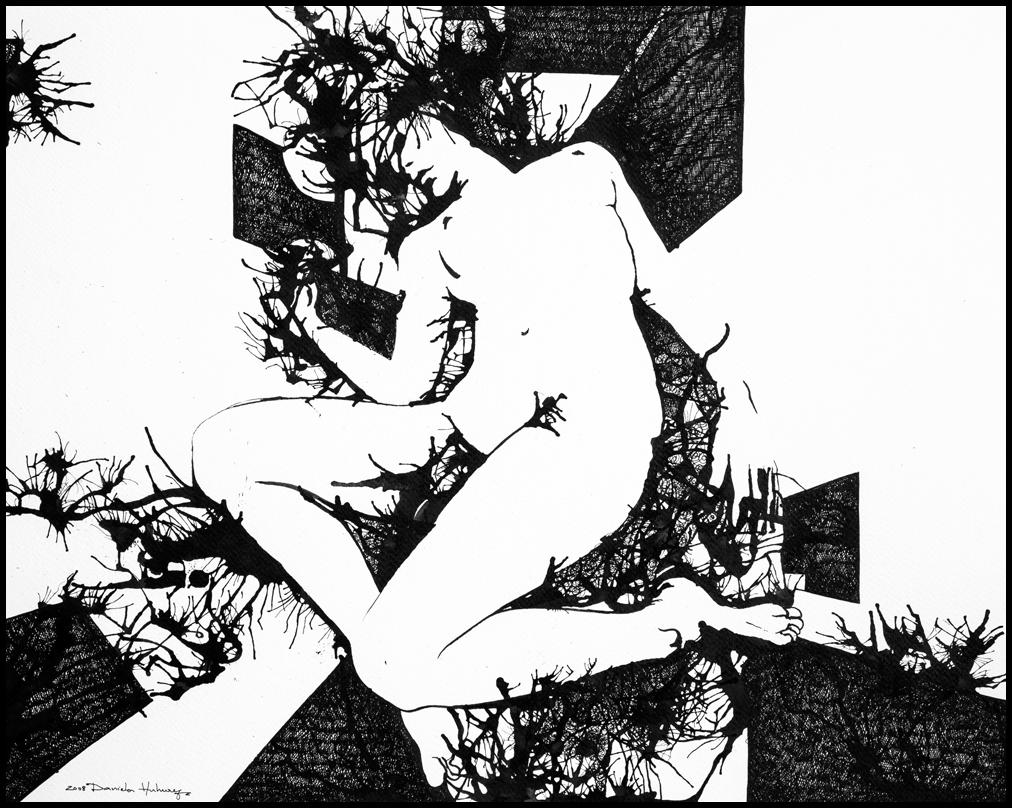 Grafică - Restless Dream, 2008, tuș pe hârtie, 39×49 cm
