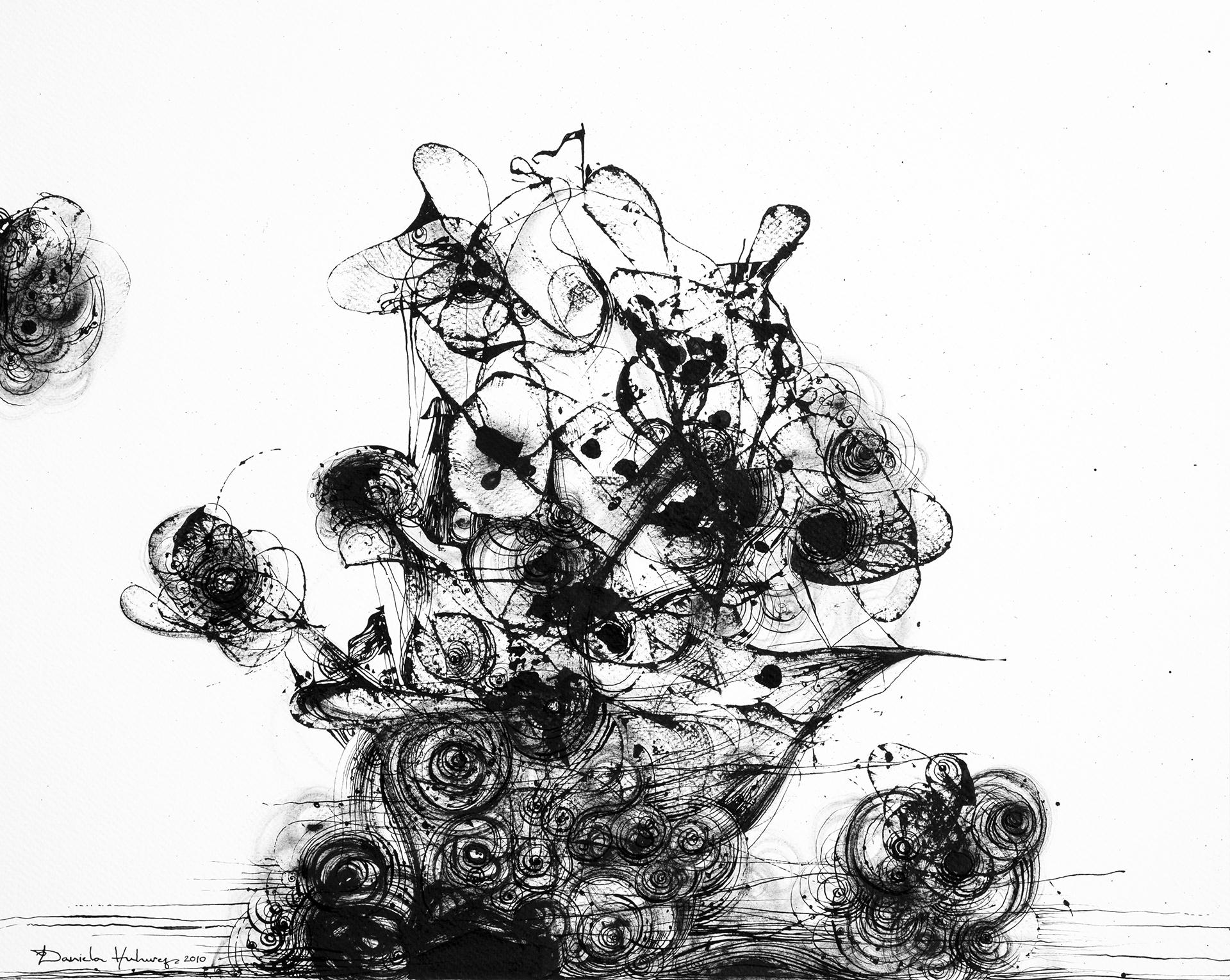 Grafică - See Storm, 2010, tuș pe hârtie, 39×49 cm