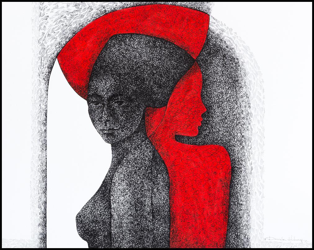 Grafică - Shadow, 2008, tuș pe hârtie, 39×49 cm