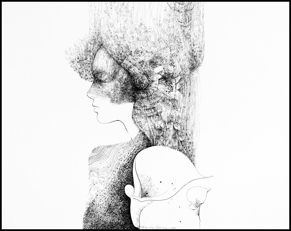 Grafică - Sweet Angel, 2010, tuș pe hârtie, 39×49 cm