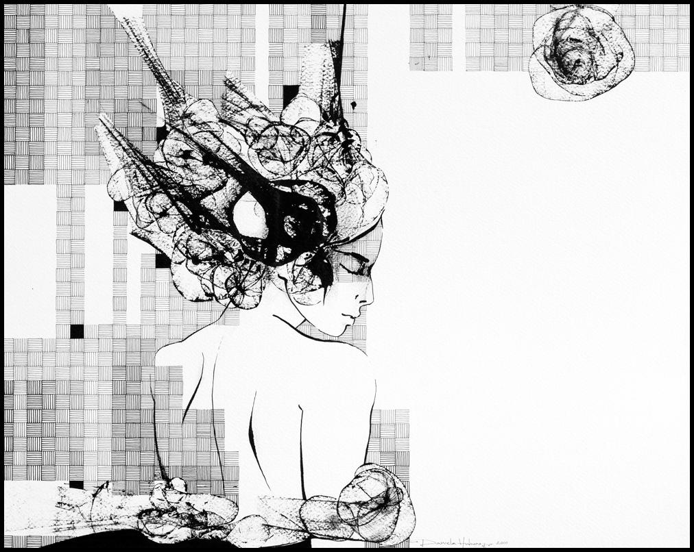 Grafică - Time to Leave, 2010, tuș pe hârtie, 39×49 cm