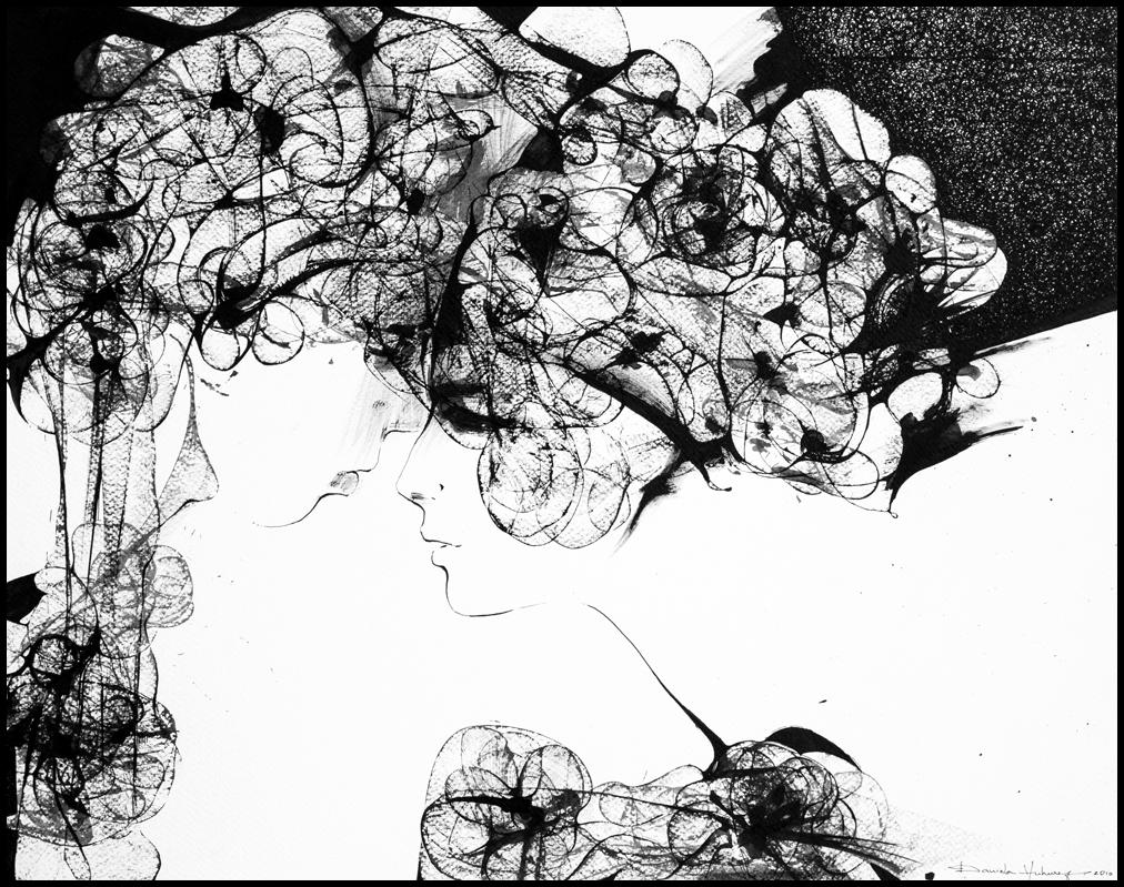 Grafică - Together, 2010, tuș pe hârtie, 39×49 cm