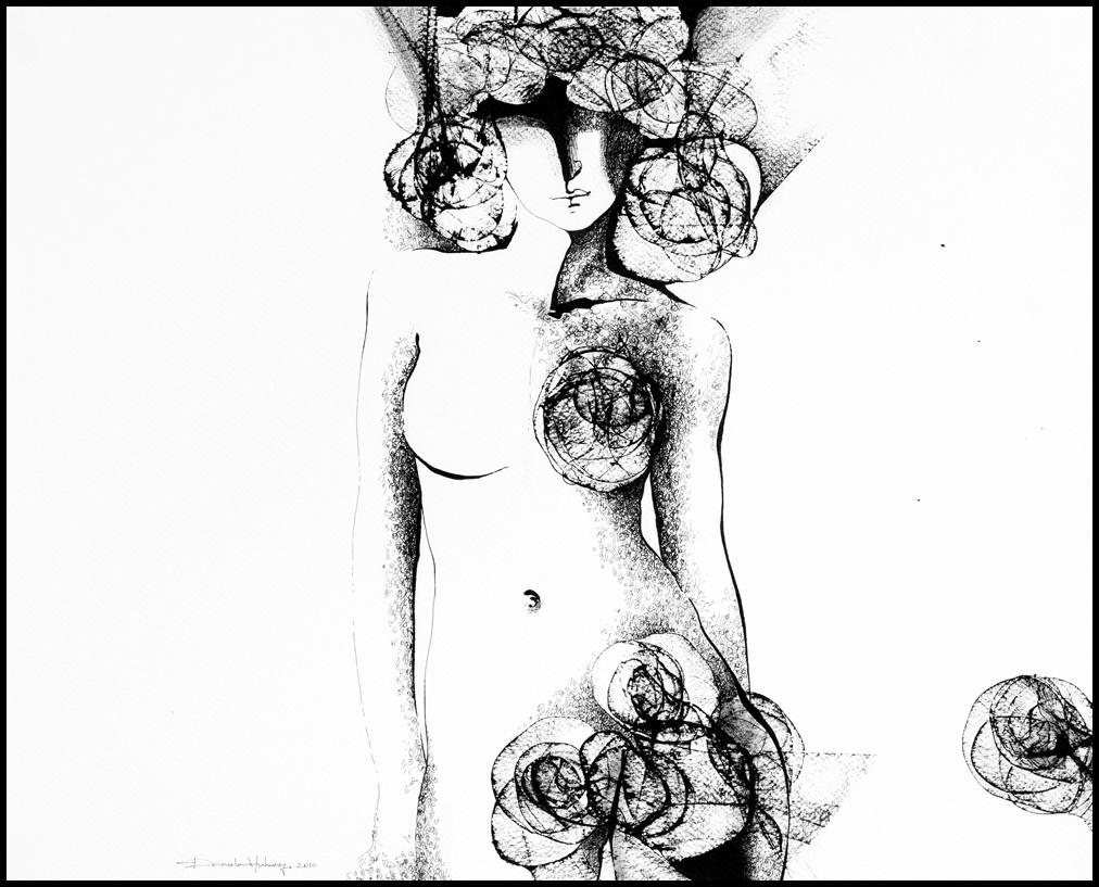 Grafică - Twilight Roses 2010, tuș pe hârtie, 39×49 cm